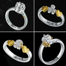 Womens Letter Mom Engraved 18K White Gold Filled CZ Zircon Family Ring Jewelry