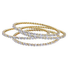 Gold Plated Cubic Zirconia Thin Bollywood Indian Bangle Bracelets Set of 4