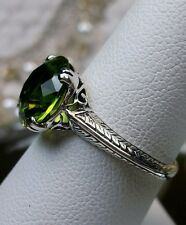 3ct *Peridot* Sterling Silver Art Deco 1930s Filigree Ring Size: {Made To Order}