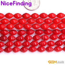 """6x8mm Olivary Rice Red Coral Loose Stone Beads For Jewelry Making Strand 15"""" DIY"""