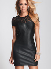 NEW WOMENS GUESS LACE CONTRAST FAUX LEATHER BLACK CAP SLEEVE CUTOUT SIDES DRESS