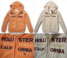 NWT Hollister Abercrombie&Fitch Textured Logo Graphic Hoodie Cream/Orange XS/S/M