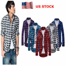Mens Long Sleeve Button Pocket Classic Plaid Check Casual Slim Tops T-Shirt Tee