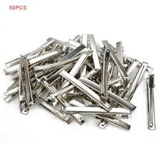 50 x Hair Clips Barrette Silver Crocodile Alligator Clips Findings For Bows GA