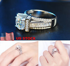 Women Ladies Zircon Crystal Engagement Finger Rings Jewelry Party Wedding Gift