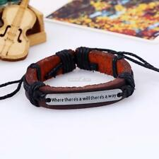 Unisex Leather Guitar Wristband Cuff Punk Bracelet Bangle With English S0BZ