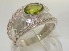SOLID 925 STERLING SILVER HALLMARKED QUALITY NATURAL PERIDOT SOLITAIRE BAND RING