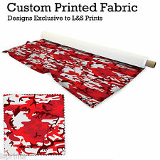 RED CAMOUFLAGE DESIGN PER METRE FABRIC LYCRA SATIN JERSEY CHIFFON FROM