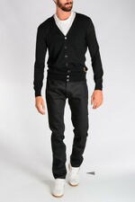 RAF SIMONS New Man Black Tapered Cotton Denim Jeans Trousers Pants Made in Italy