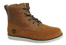 Timberland Newmarket Lace Up Side Zip Toddlers Brown Leather Boots A1CFC U95