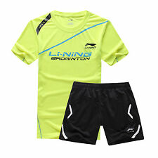 2015 Summer Li Ning Men's table tennis Badminton Clothes Set T shirt+shorts