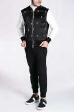 NEIL BARRETT Nw Man Leather Fabric Embroidered Lightning Bolts BOMBER FIT Jacket