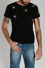 SAINT LAURENT New Men Black Cotton Embroidery Tee T-shirt NWT made france