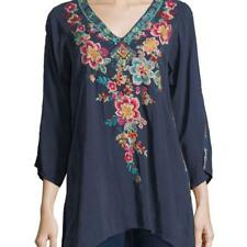 WINTER 2018 NWT JOHNNY WAS Roma Tunic Navy Blouse Embroidered Silk Top M L