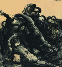 """GEORGE WESLEY BELLOWS """"Hold 'Em"""" american football scrum CANVAS or PAPER giclee"""