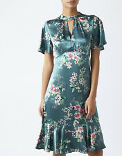 Monsoon Alicia Teal Oriental Satin Evening Floral Cocktail Party Dress 8 - 18