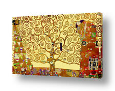 READY TO HANG CANVAS Tree Of Life Yellow Gustav Klimt Oil Painting Print Frame