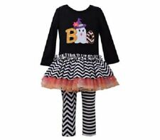 Bonnie Jean Girl Black Ghost Boo Halloween Fall School Tutu Dress Legging