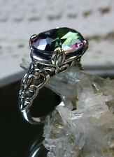5ct Oval Cut *Mystic Topaz* Solid Sterling Silver Filigree Ring {Made To Order}