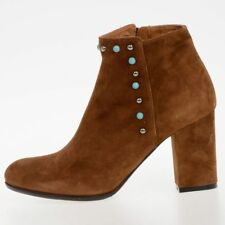 VIA ROMA 15 New Woman Leather Suede Brown Ankle Boots Made in Italy