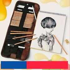 Professional Sketching Pencil Set Pen Charcoal Sketch Set Roll Up Carry Pouch Z