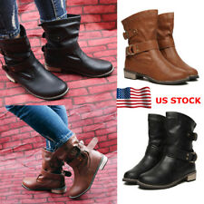 Womens Chunky Low Heels Mid-Calf Buckle Boots Ladies Pull On Strap Shoes Party