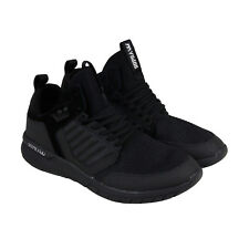 Supra Method Mens Black Mesh & Suede Athletic Lace Up Running Shoes