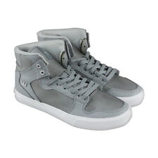 Supra Vaider Mens Gray Leather & Textile High Top Lace Up Sneakers Shoes
