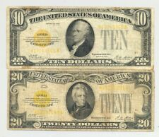 $10 and $20 Series 1928 Gold Certificate in average circulated condition