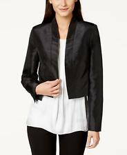 NWT CALVIN KLEIN Womens Black Satin Open-Front Cropped Jacket Sz XL