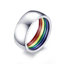 Hot Gay Lesbian LGBT Pride Ring Stainless Steel Rainbow Inner Striped Ring Band