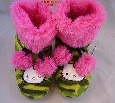 NEW Girl *11-12*13-1* HELLO KITTY Pom Pom Plush Pink Camo Slippers Bootie
