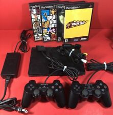PLAYSTATION 2 PS2 SLIM BLACK SONY CONSOLE VIDEO GAME COMPLETE FREE SHIPPING!