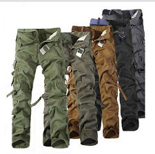 Mens Casual Military Combat Work Pants Army Cotton Camo Cargo Pants Trousers