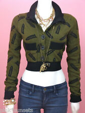 Betsey johnson Goth Guns Knit Cardigan Show Sweater Gun Bullet Olive Green S M L