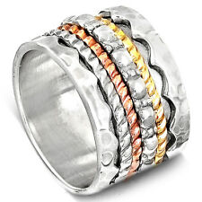 Solid 925 Sterling Silver Spinner Ring Golden Spinning Wide Band Men's Sz 6-9