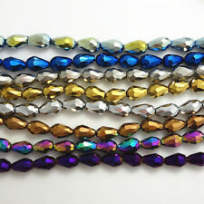Hot Faceted Teardrop Glass Crystal  Loose Spacer Beads 8x12mm10x15mm Wholesale