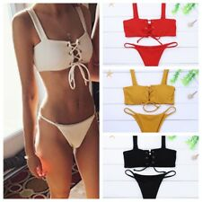 Sexy Women Lace Up Ribbed Texture Bikini Solid Color Swimsuit Padded Bra Bottom