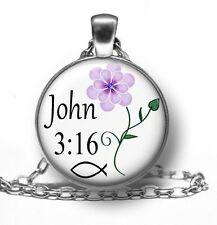 JOHN 3:16 Pendant Necklace Religious Christian, Bible Verse, Handmade Jewelry