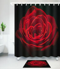 Red Rose Black Shower Curtain Waterproof Fabric Poyester Curtains Bath Mat Rug