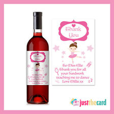 Personalised Dance, Ballet Instructor Thank You Wine Label Gift
