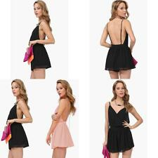 Summer Fashion Sexy V Collar Dress Halter Chiffon Sling Back Piece Pants New