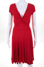 BCBG Max Azria Red Twist Front V Neck Cap Sleeve A Line Dress Size Small