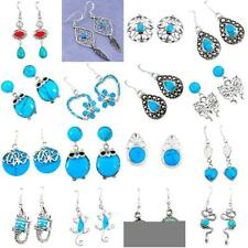 Fine blue turquoise 925 sterling silver earrings jewelry  8572B