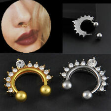 1PC Nose Ring Fake Septum Clicker Non Piercing Hanger Clip On Crystal Jewelry