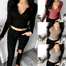 New Fashion Women Deep V Neck Crop Tops Long Sleeve Shirt Blouse Sweater T-shirt