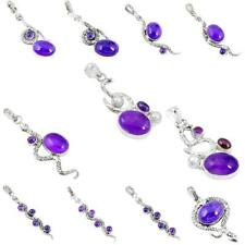 925 sterling silver natural purple amethyst snake pendant jewelry