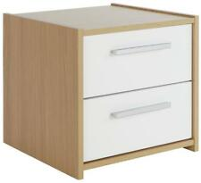 New Home Sywell 2 Drawer Bedside Chest Drawers Table in Oak & White
