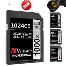 1TB SD Card Verbatim 1024GB Pro Plus 1000X SDXC Memory Card UHS-I V30 U3 Class10