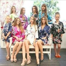 Women Silk Satin Robes Bridal Wedding Bridesmaid Bride Gown Kimono Robe !